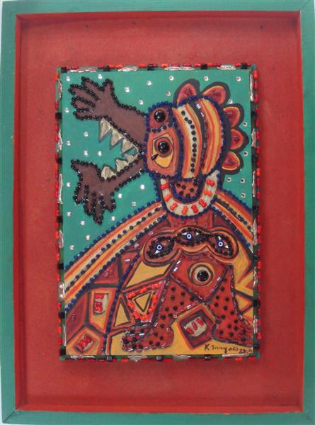 """Lot #697: KARIMA MUYAES - Beaded Bird - Acrylic on board, with glass beads and nickel silver """"milagros"""" applied"""