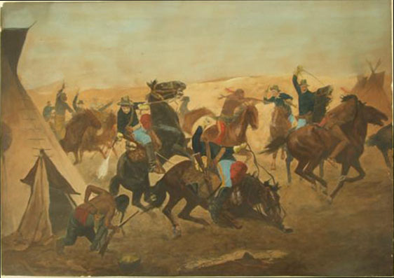 Lot #721: CHARLES SCHREYVOGEL - Attack at Dawn - Original hand-finished color lithograph