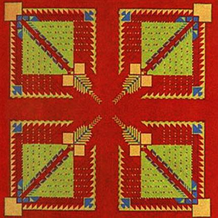 "Lot #34: FRANK LLOYD WRIGHT/TALIESIN ARCHITECTS - Vintage Frank Lloyd Wright/Taliesin Architects Designed Carpet from the Arizona Biltmore Hotel [01 ""tile""] - Textile"