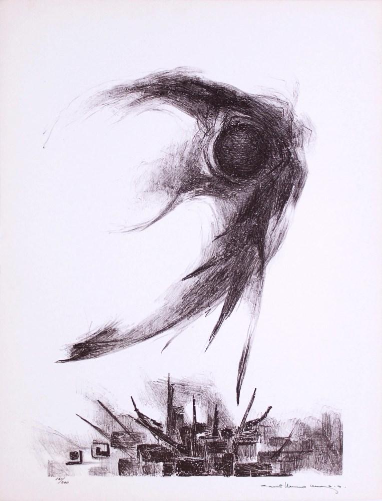 Lot #81: GUILLERMO MEZA - Tristisima Estrella - Lithograph in brown ink