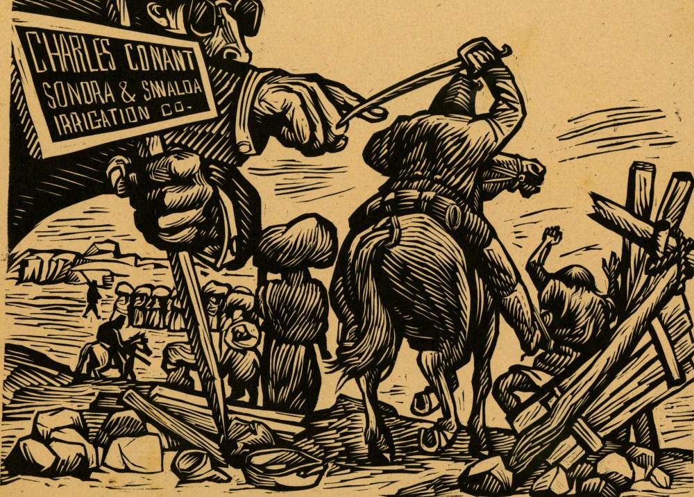 Lot #605: LEOPOLDO MENDEZ - Despojo de la Tierra a los Yaquis - Linoleum cut