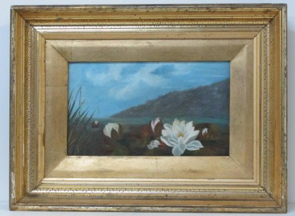 Lot #28: JOHN LAFARGE - Water Lilies - Oil on panel