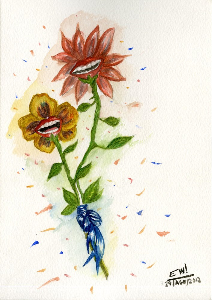 Lot #73: ESTELA WILLIAMS - Two Flowers - Watercolor on paper