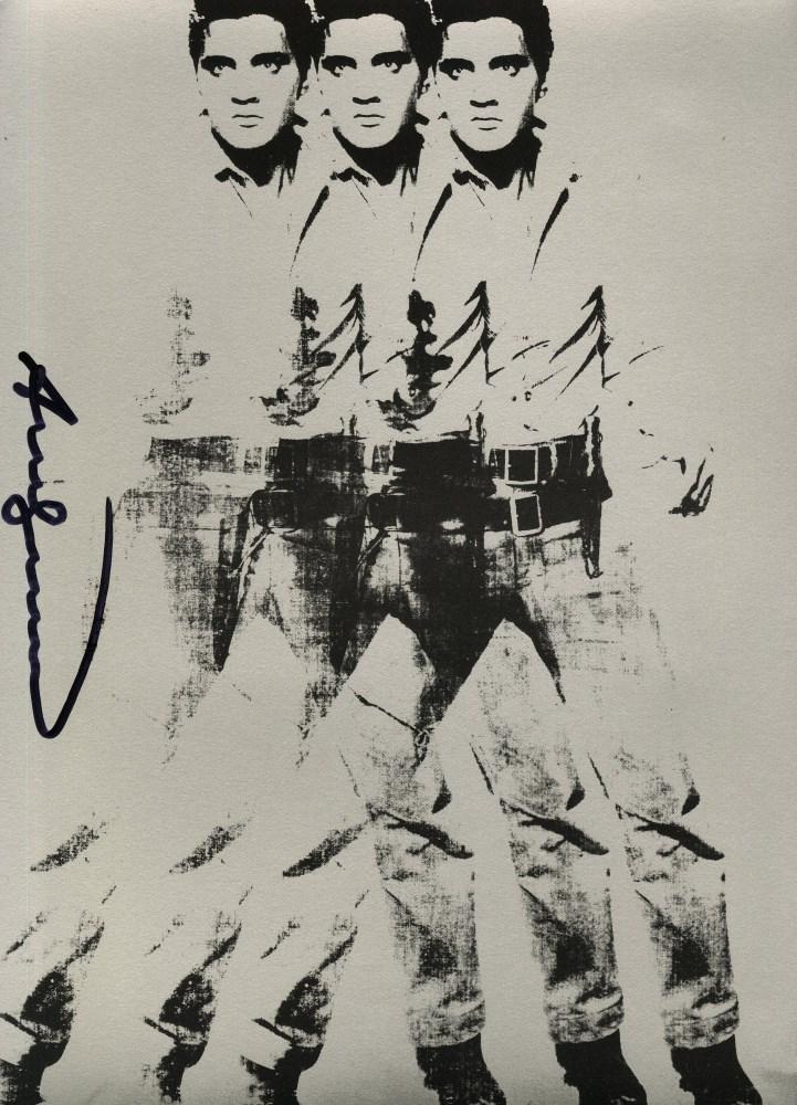 Lot #812: ANDY WARHOL - Triple Elvis - Original color silkscreen & lithograph