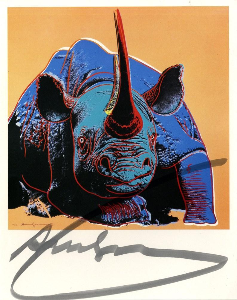 Lot #685: ANDY WARHOL - Black Rhinoceros - Original color offset lithograph