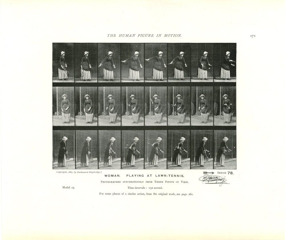Lot #11: EADWEARD MUYBRIDGE - Woman: Playing at Lawn-Tennis - Original photomezzotint & letterpress