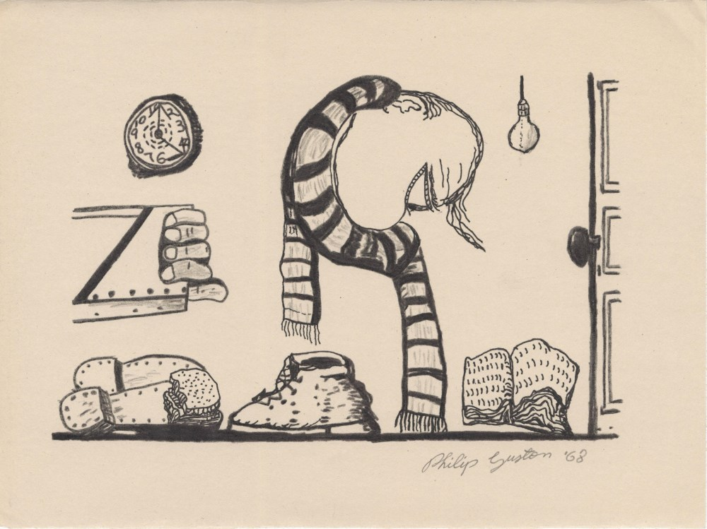 Lot #60: PHILIP GUSTON - Untitled - Charcoal and ink drawing on paper