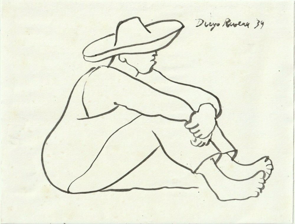 Lot #85: DIEGO RIVERA - Trabajador Descansando - Pen and ink drawing on paper