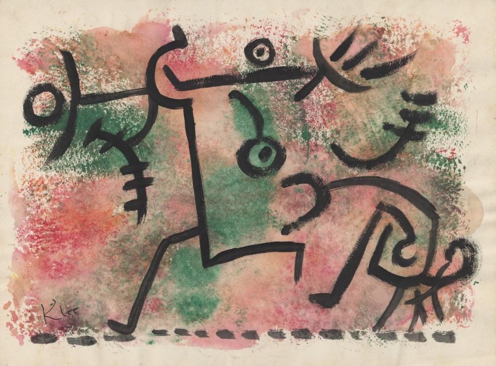 Lot #32: PAUL KLEE - Vor Damonen fliehen - Watercolor and pen and ink on paper
