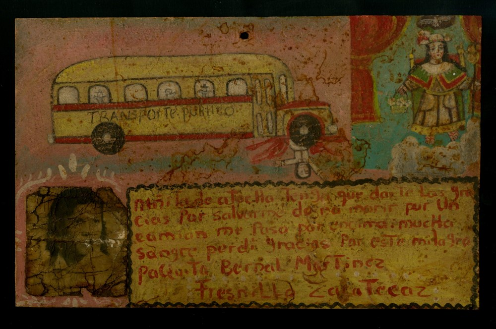 Lot #35: MEXICAN SCHOOL (EX-VOTO ARTIST) 20TH CENTURY - Vintage Ex-Voto/Retablo: Transporte Publico - Oil on tin