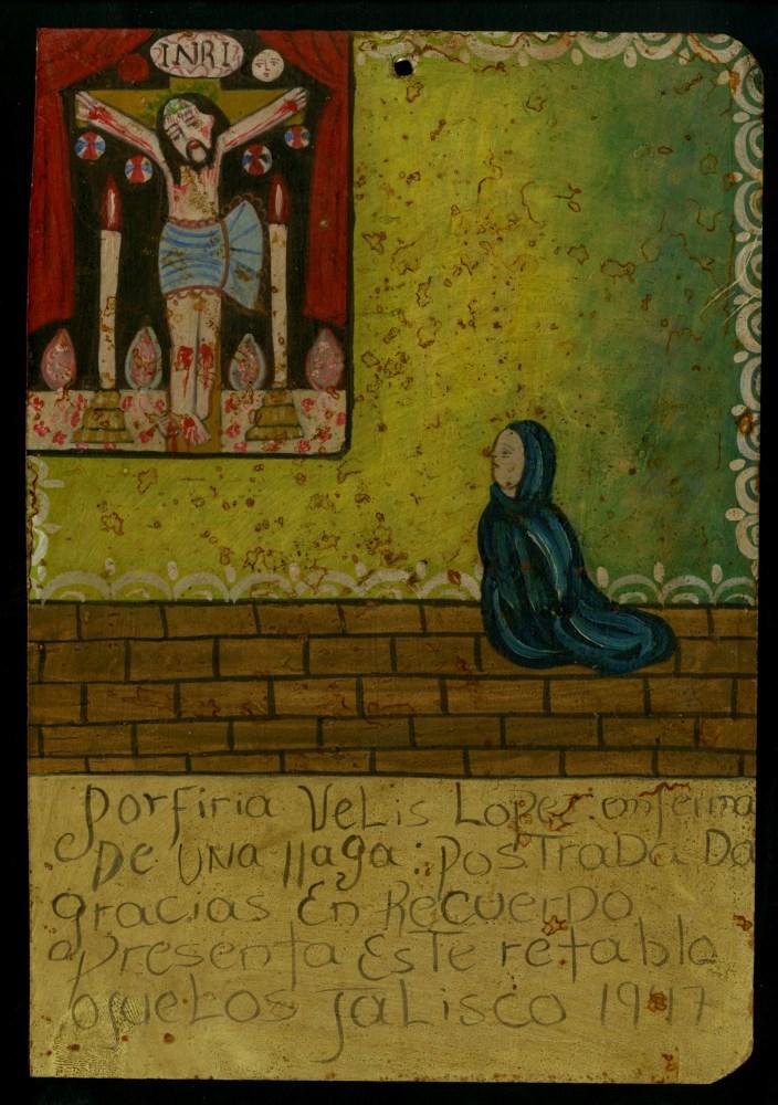 Lot #37: MEXICAN SCHOOL (EX-VOTO ARTIST) 20TH CENTURY - Vintage Ex-Voto/Retablo: Porfiria Velis Lopez - Oil on tin