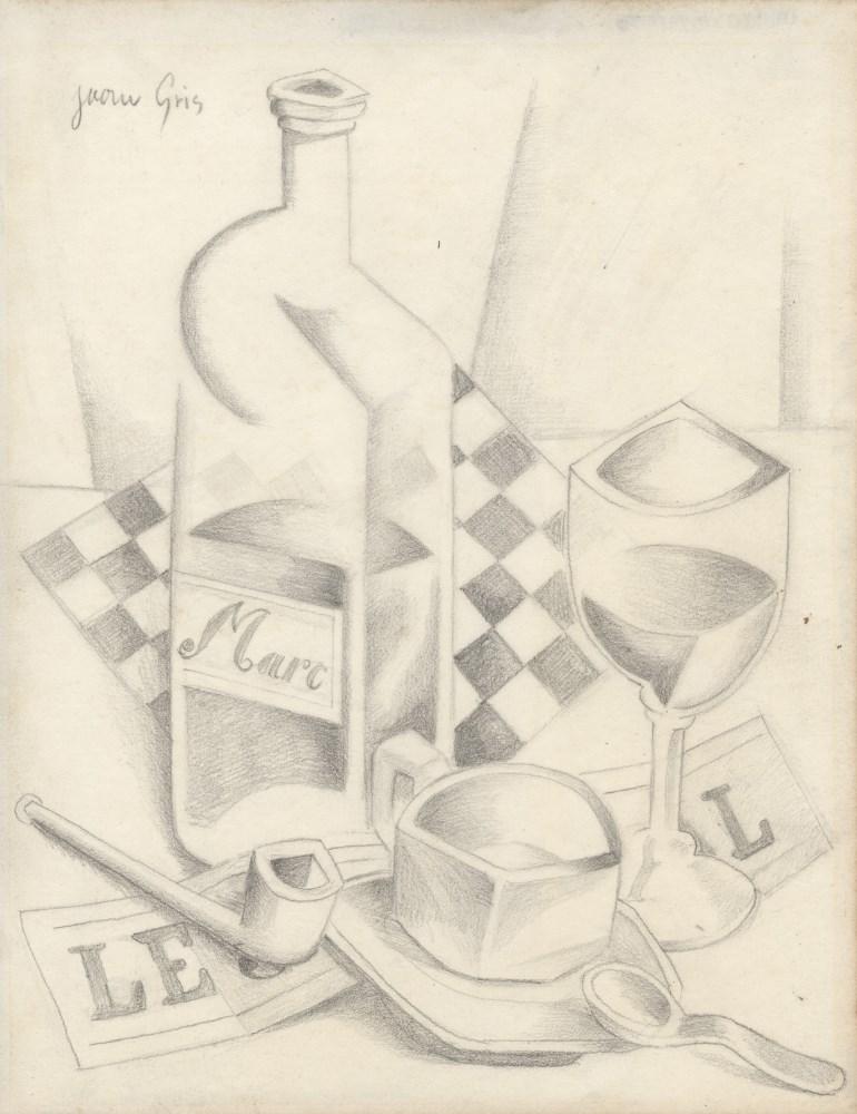 Lot #46: JUAN GRIS - Verre, damier, et bouteille de marc - Pencil drawing on paper