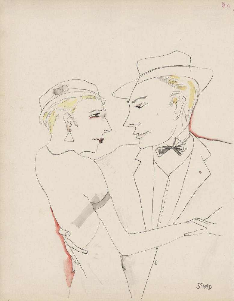 Lot #47: CHRISTIAN SCHAD - Verfuhrung - Watercolor and pen drawing on paper