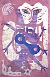 Lot #552: KARIMA MUYAES - Felina en Rosa - Monotype on amate paper