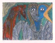 Lot #758: KARIMA MUYAES - Woman and Wolf - Carborundum plate with oil colors