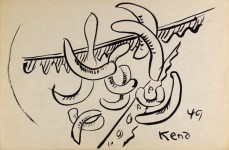 Lot #1052: JALED MUYAES - Non-Objective Composition #7 - Pen and ink on paper