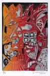 Lot #1388: KARIMA MUYAES - Casas de Papel y Tinta - Color linocut