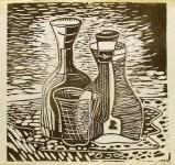 Lot #677: JALED MUYAES - Botellas con una copa - Color linocut