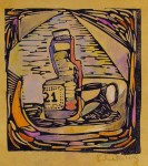 Lot #151: JALED MUYAES - Still Life with Pitcher - Hand colored linocut