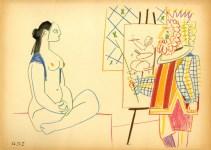 Lot #2152: PABLO PICASSO [d'apres] - Chevalet, Peintre et Modele Masque - Original color lithograph