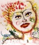 Lot #713: KARIMA MUYAES - Autorretrato con Criaturas - Oil on paper