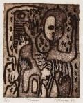 Lot #1384: KARIMA MUYAES - Chaman - Color linocut