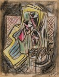 Lot #315: JALED MUYAES - Non-objective Composition #21 - Color crayon drawing