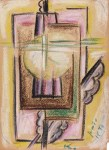 Lot #314: JALED MUYAES - Non-Objective Composition #22 - Color crayon drawing