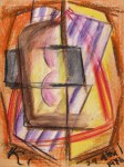 Lot #1054: JALED MUYAES - Non-Objective Composition #23 - Gouache and crayon