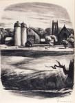 Lot #1822: BENTON MURDOCH SPRUANCE - Newtown Towers - Lithograph
