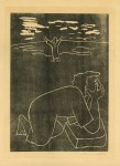 Lot #128: JOSE VENTURELLI - Tearful Figure and Figure with Outstretched Arms - Original woodcut