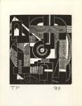 Lot #1488: MARGARET BURROUGHS - Abstraction - Original linocut