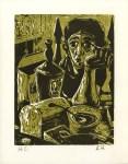 Lot #1914: ALVIN HOLLINGSWORTH - Lonely Woman - Original color woodcut