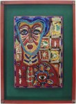 """Lot #1434: KARIMA MUYAES - Beaded Woman - Acrylic on board, with glass beads and nickel silver """"milagros"""" applied"""