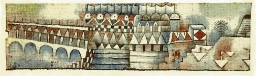 """Lot #1796: PAUL KLEE - Old Town and Bridge [""""Ville ancienne avec pont""""] - Original color collotype"""
