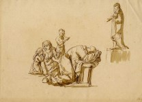 Lot #1483: ITALIAN SCHOOL [17th-18th century] - Adoration of the Virgin - Pen and ink with wash drawing