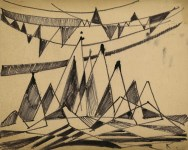 Lot #1053: JALED MUYAES - Non-objective Composition #50C - Pen and ink drawing
