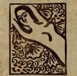Lot #942: SHIKO MUNAKATA - Reclining Female Nude II - Color woodcut in brown ink