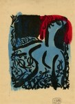 Lot #1044: SHIKO MUNAKATA - Nude Female with Branches - Woodcut with watercolor handcoloring