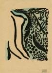 Lot #844: SHIKO MUNAKATA - The Garden - Woodcut with watercolor handcoloring