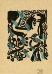 Lot #1043: SHIKO MUNAKATA - Nude Female with Leaves - Woodcut with watercolor handcoloring