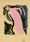 Lot #1292: SHIKO MUNAKATA - Female Nude from Behind - Woodcut with watercolor handcoloring
