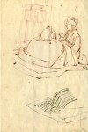 Lot #1631: TSUKIOKA YOSHITOSHI - Study for Woodcut #12 - Pen and ink drawing