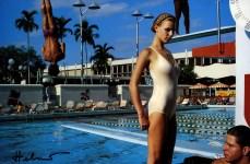 Lot #693: HELMUT NEWTON - Bergstrom at the University of Miami pool, Florida - Original vintage color photolithograph