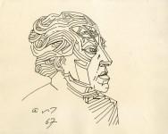 Lot #1752: ANDRE MASSON [d'apres] - Portrait d'Andre Breton - Pen and ink drawing