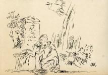 Lot #2100: OSKAR KOKOSCHKA - Der Besuch - Original pen and ink drawing