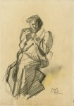 Lot #1967: UMBERTO BOCCIONI [imputee] - Ispezione - Original charcoal drawing