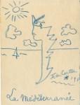 Lot #1935: JEAN COCTEAU [d'apres] - La Mediterranee - Original color wax pencil drawing