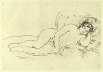 Lot #2058: PIERRE-AUGUSTE RENOIR - Femme nue couchee, tournee a droite, 2e Planche - Original etching