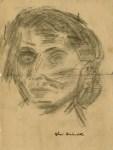 Lot #1753: OSKAR KOKOSCHKA - Portrait - Original charcoal drawing